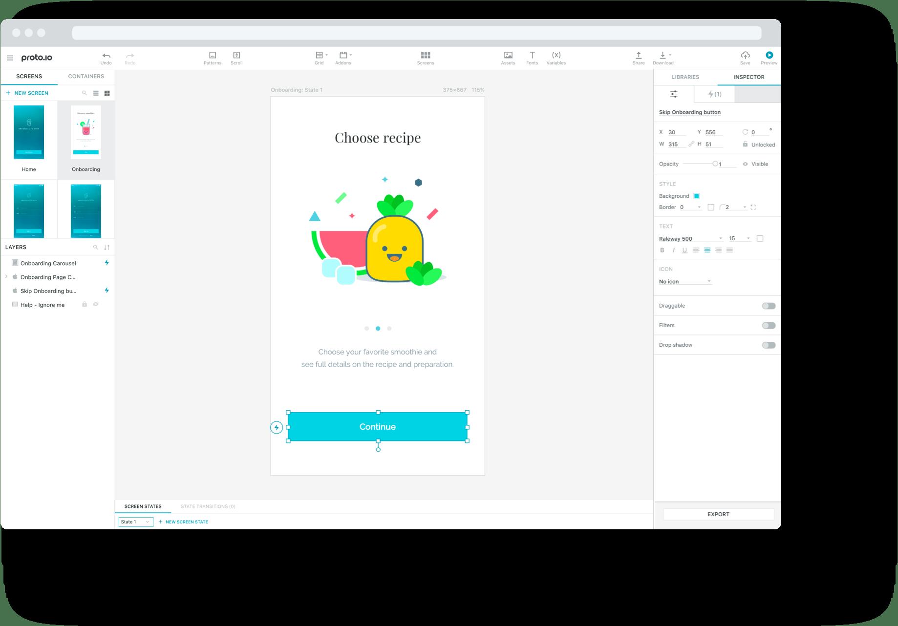 Proto.io redesigned UI editor