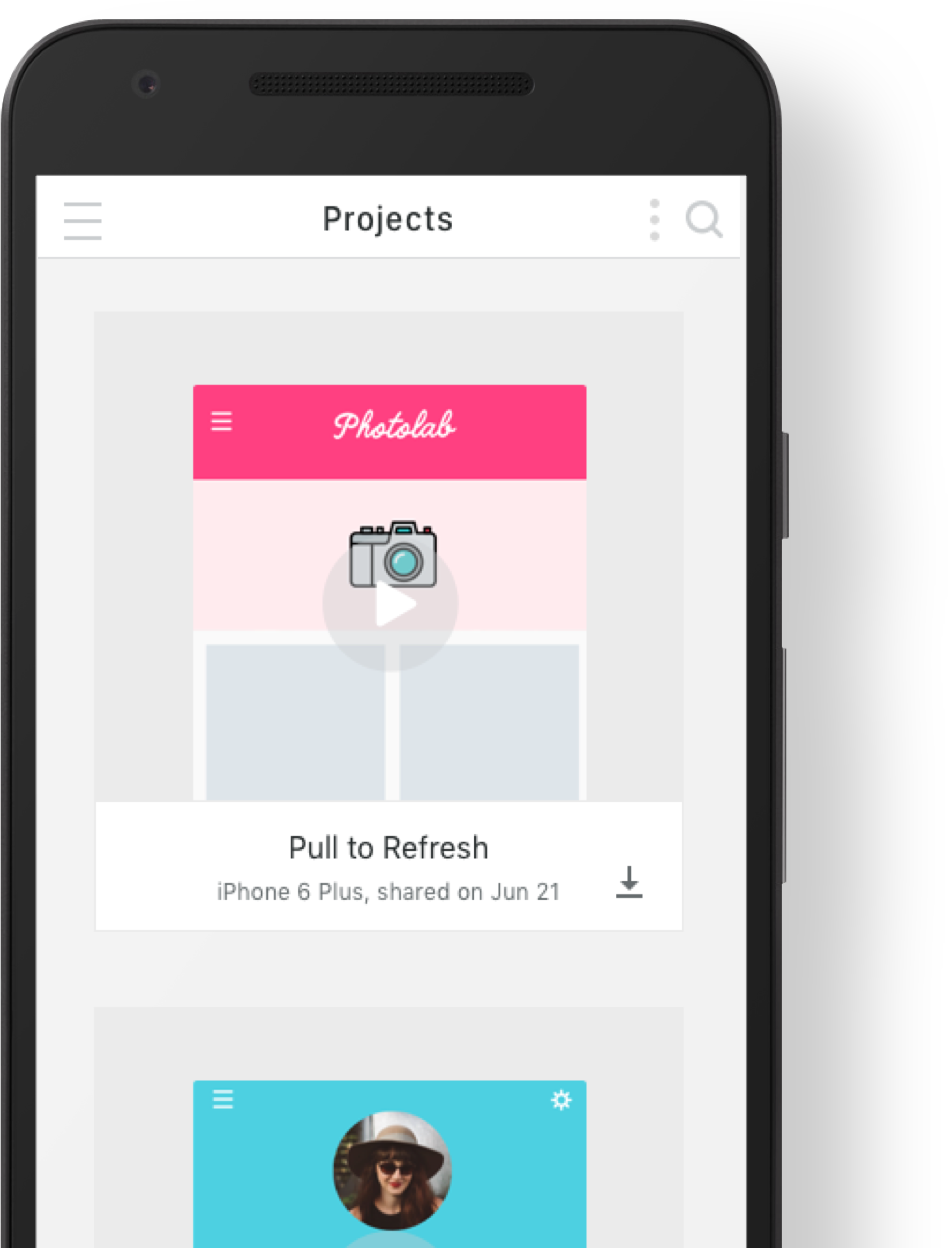 Proto.io app on an android device