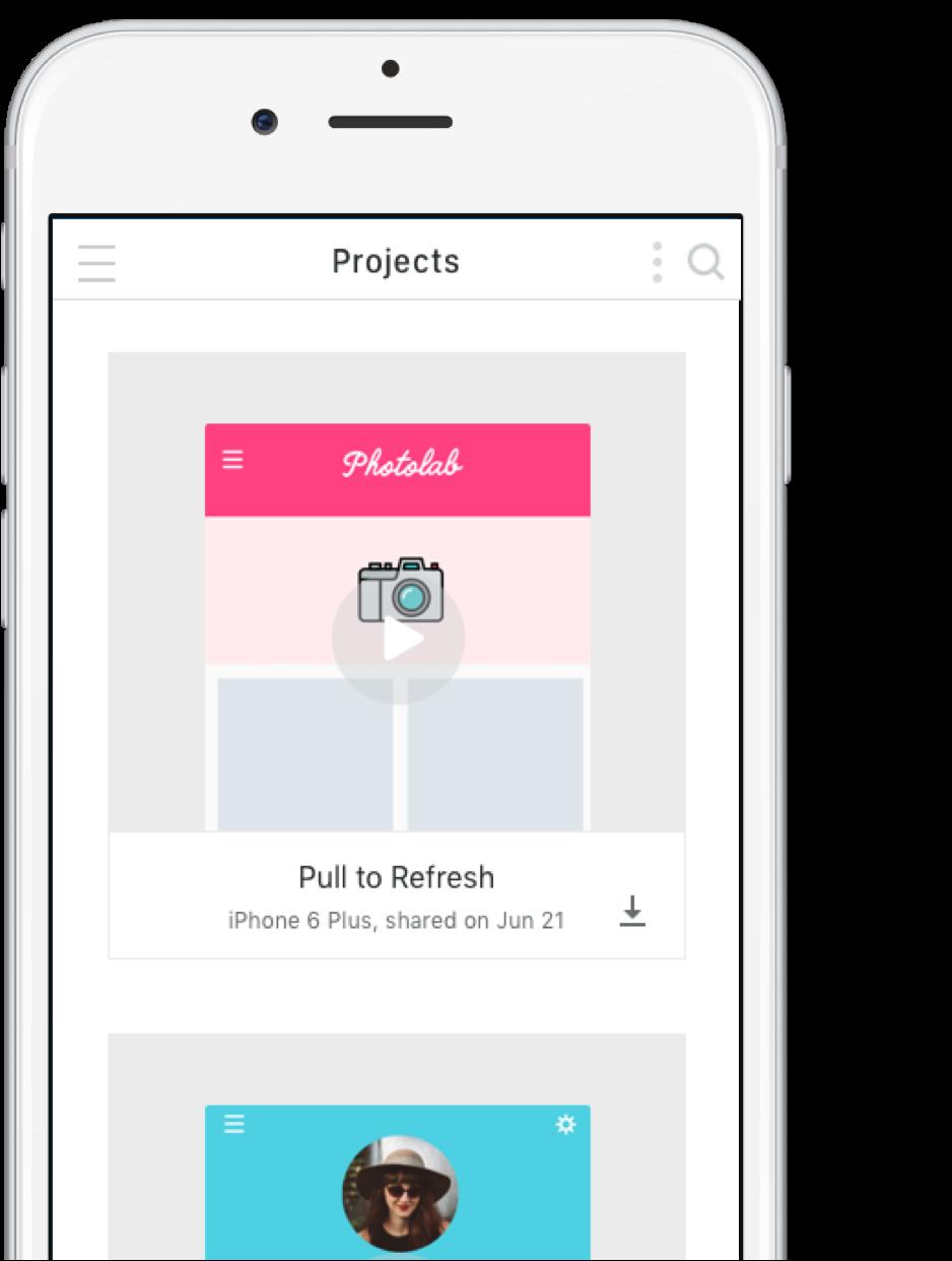 Proto.io app on an iPhone device