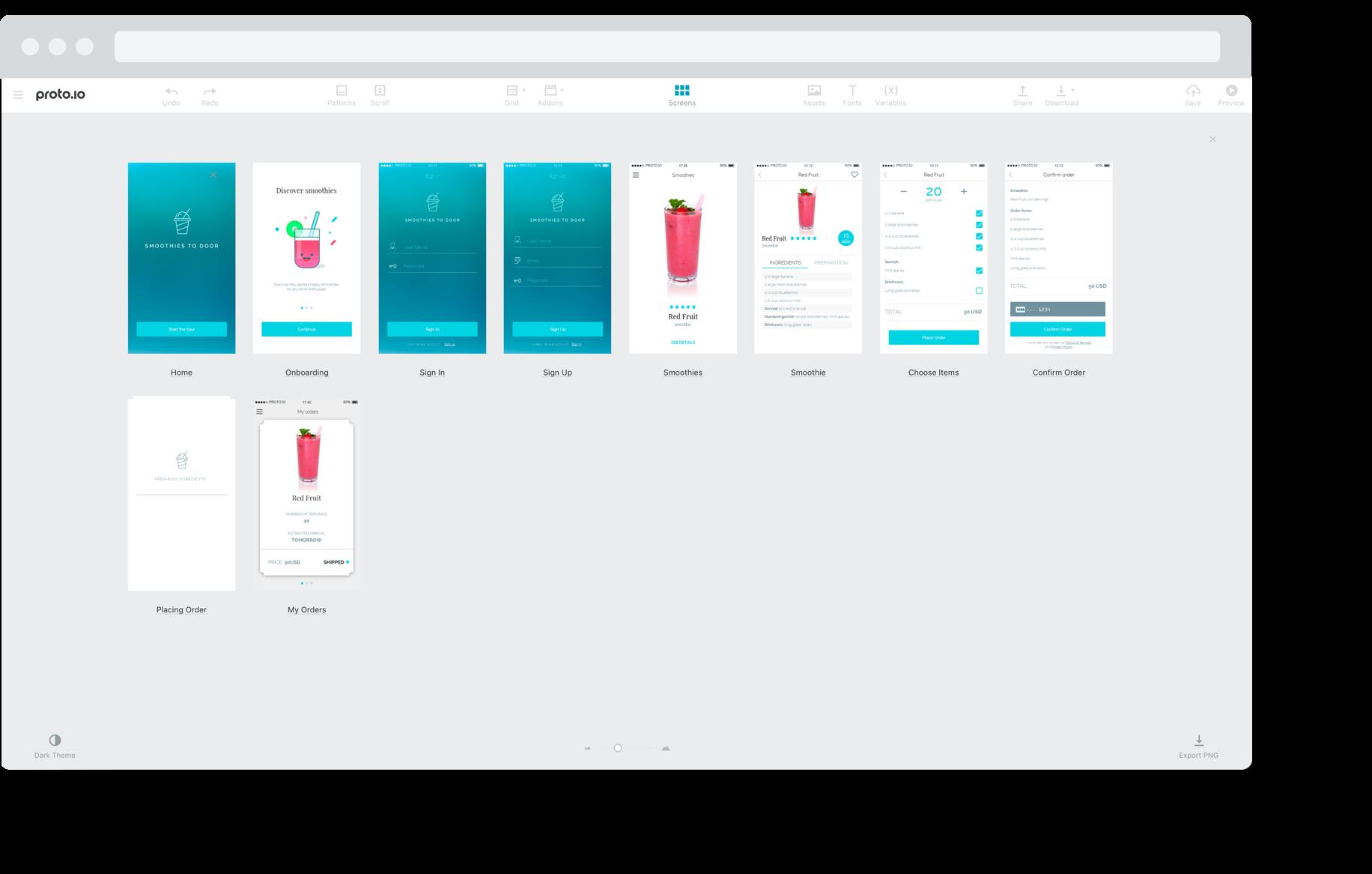 Proto.io editor - Visual Screens Navigator