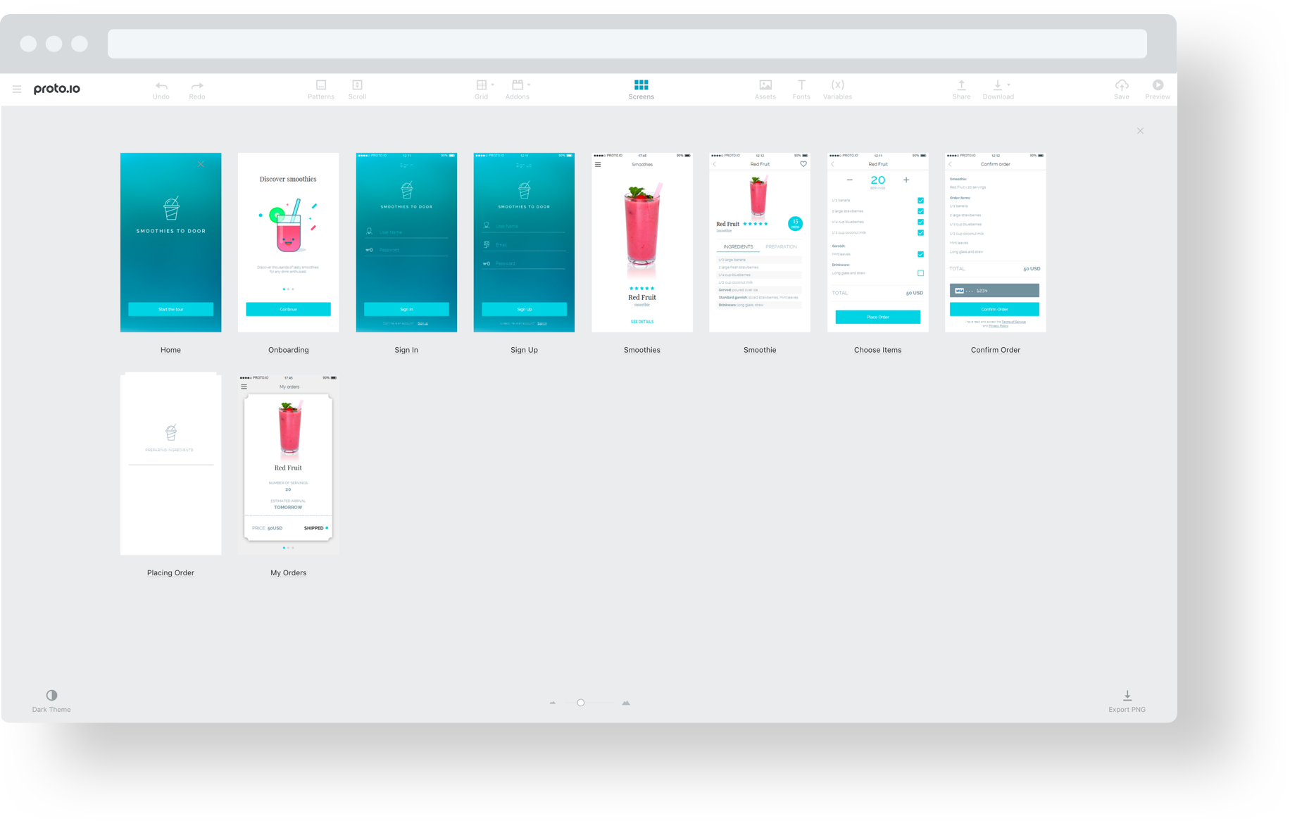 Proto.io editor - Visual Screens Navigator