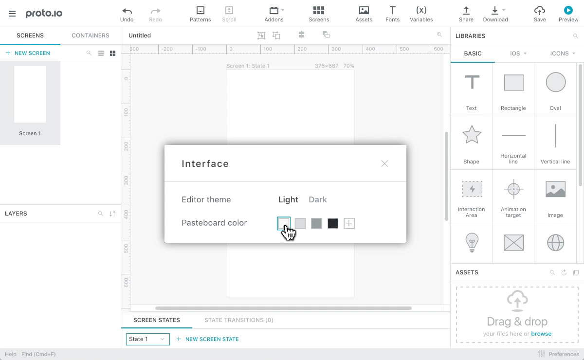 Animation of selecting the right theme and pasteboard color