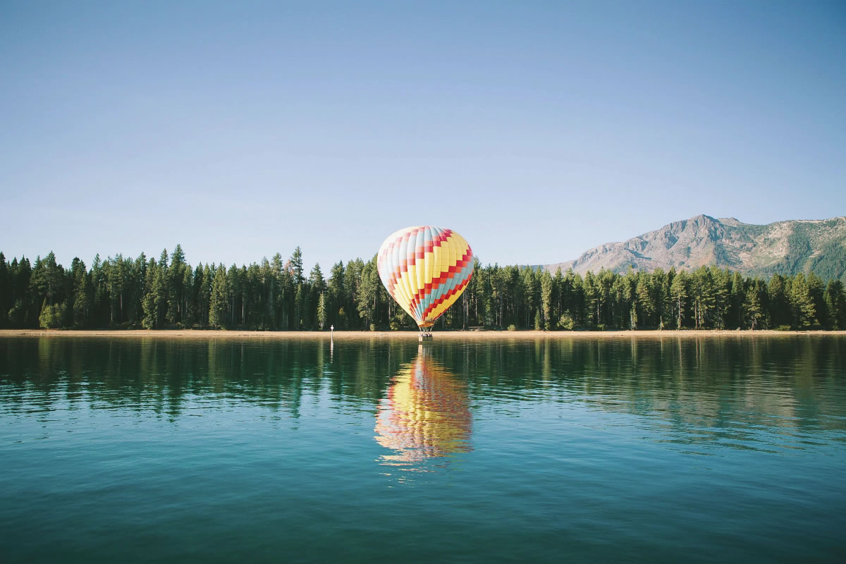 Animation of lake focusing on an air balloon