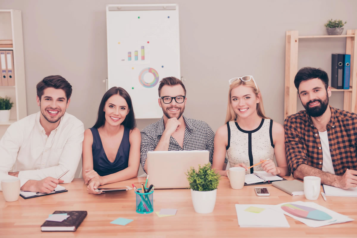 Animation showing group of people at the office