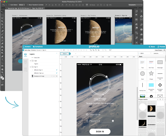 Instantly transfer Photoshop and Sketch designs into Proto