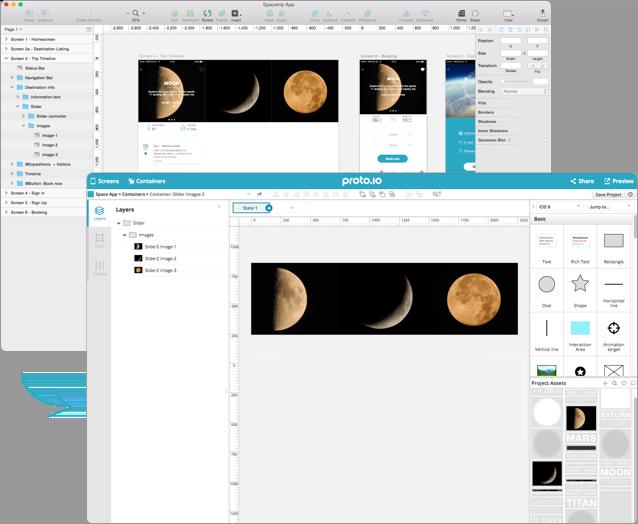 Proto.io editor showing interactions